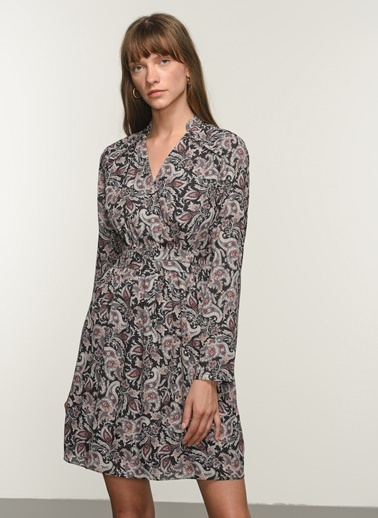 NGSTYLE Ngkaw20El0057 Fırfır Detaylı Desenli Elbise Siyah